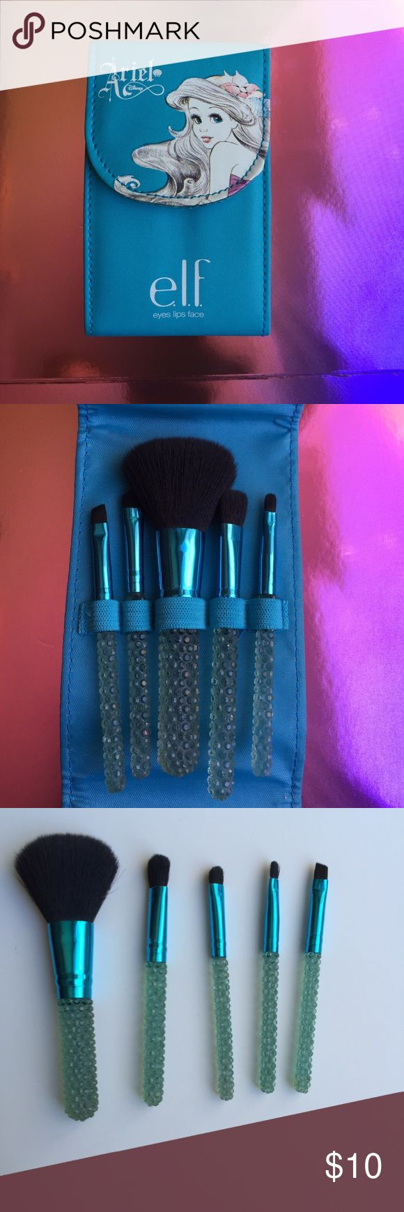 Limited Edition e.l.f. Little Mermaid brush set Limited Edition e.l.f. Little Mermaid brush set. Travel size. Elf Makeup Brushes & Tools