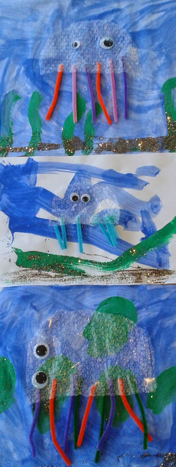 Bubble wrap Jellyfish Collage using bubble wrap, pipe cleaners and googly eyes. Ideal for kids of different ages to work on alongside each other. Including toddlers, preschoolers and older children.