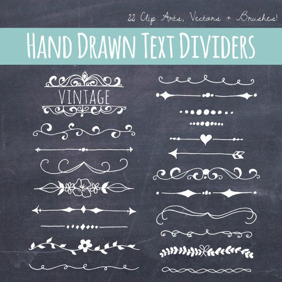 CLIP ART: Chalkboard Text Dividers // Plus by thePENandBRUSH