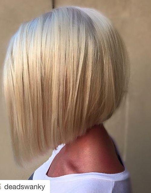 21 Eye-catching A-line Bob Hairstyles: #1. Platinum short A-line bob #BlondeHairstylesBob