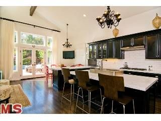 love this kitchen from the floors to the light fixtures