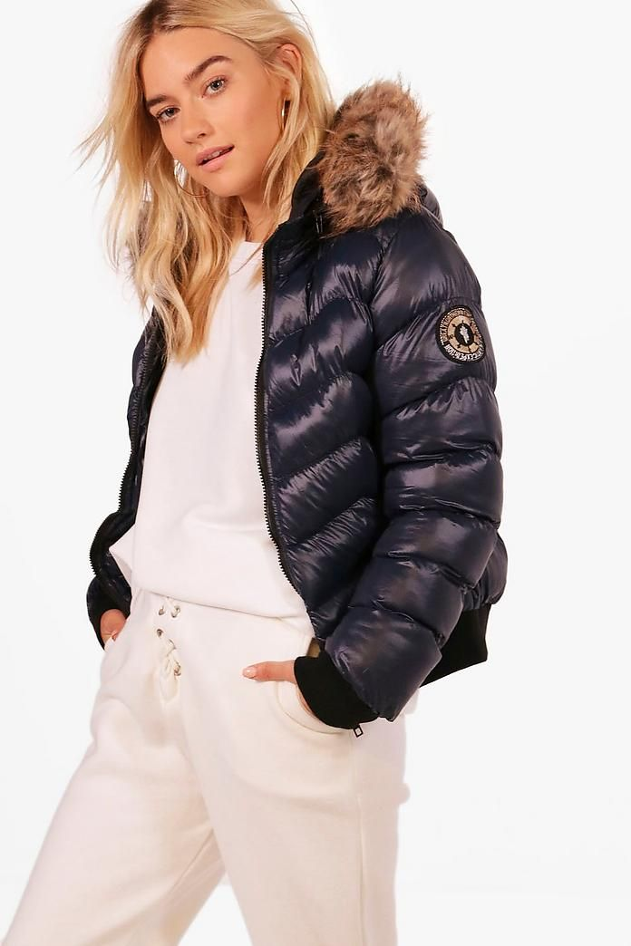 Cropped Padded Jacket With Faux Fur Hood Favs Pinterest