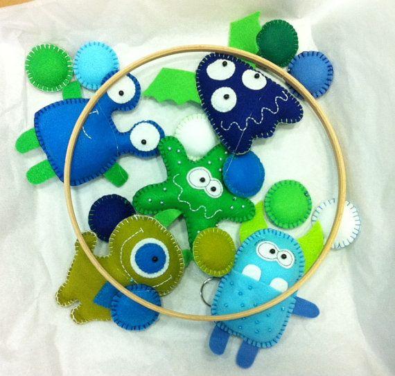 Custom made Little Monster Baby Mobile