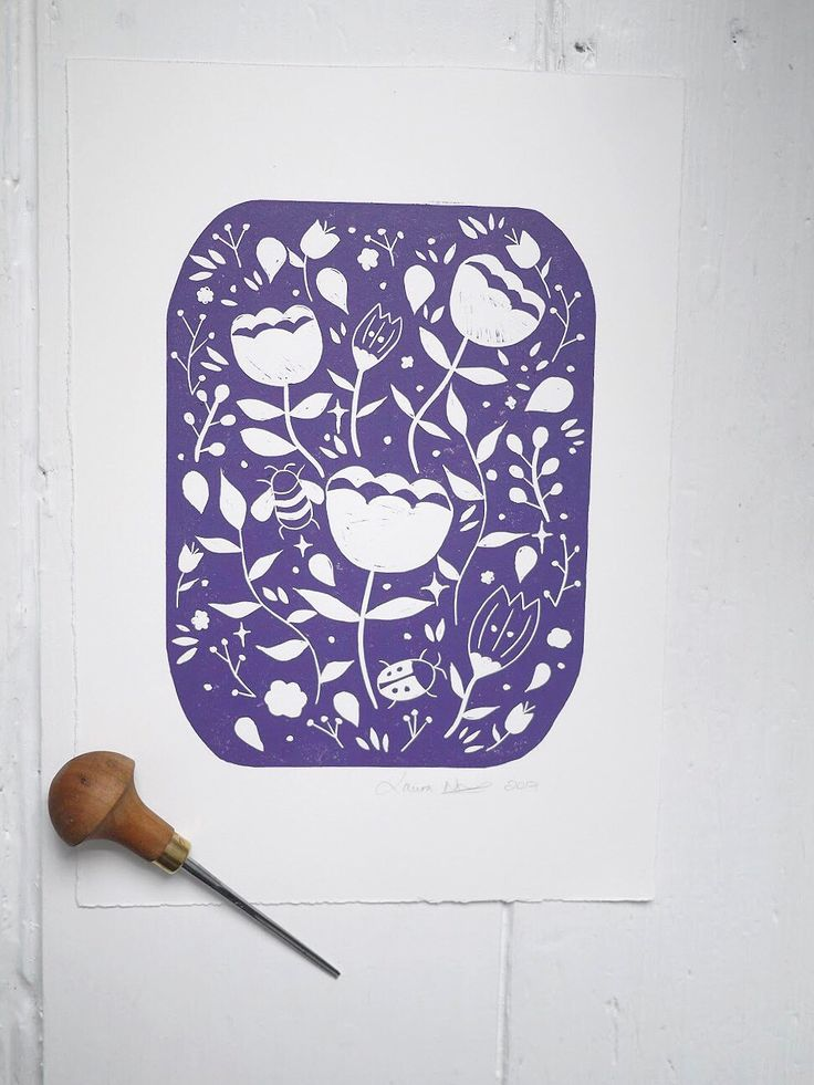 Purple lino print lino cut magical garden floral bee print