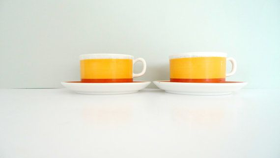 Gefle Sweden cups and saucers  Set of Two Stina by TheScandiShop, $31.00