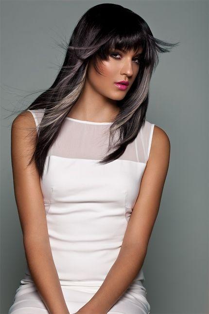 Black Hair With Grey Streaks Hair Pinterest Hair Hair Color