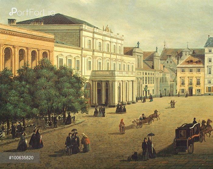 View of Warsaw, by Julian Wiszynski, Poland 19th century.