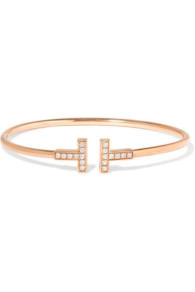 Tiffany & Co | T Wire 18-karat rose gold diamond bracelet | NET-A-PORTER.COM
