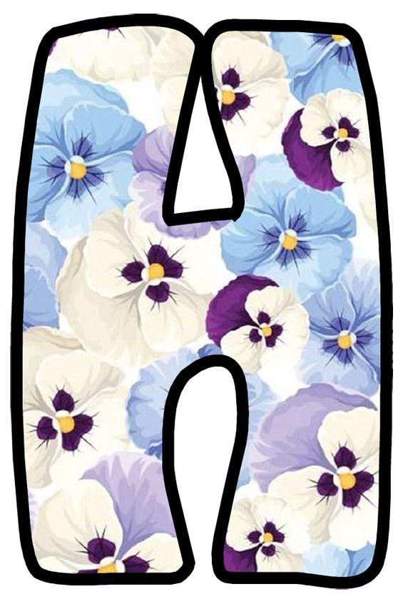 Buchstabe Letter H Flower Art Monogram Alphabet Pansies