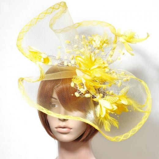 """""""handmade"""" Hot Party Large Women Fascinator Flower Hair Clips Accessory Feathers Handmade Yellow Feather Clip China"""