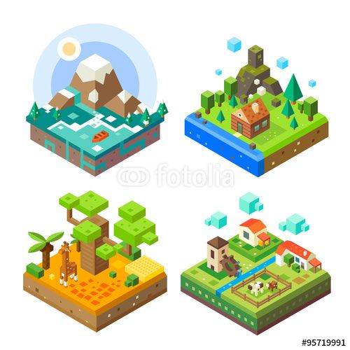 Vector: Isometric tile set: African tile with giraffe, countryside, mountain lake view, house in the woods. Flat vector stock set.