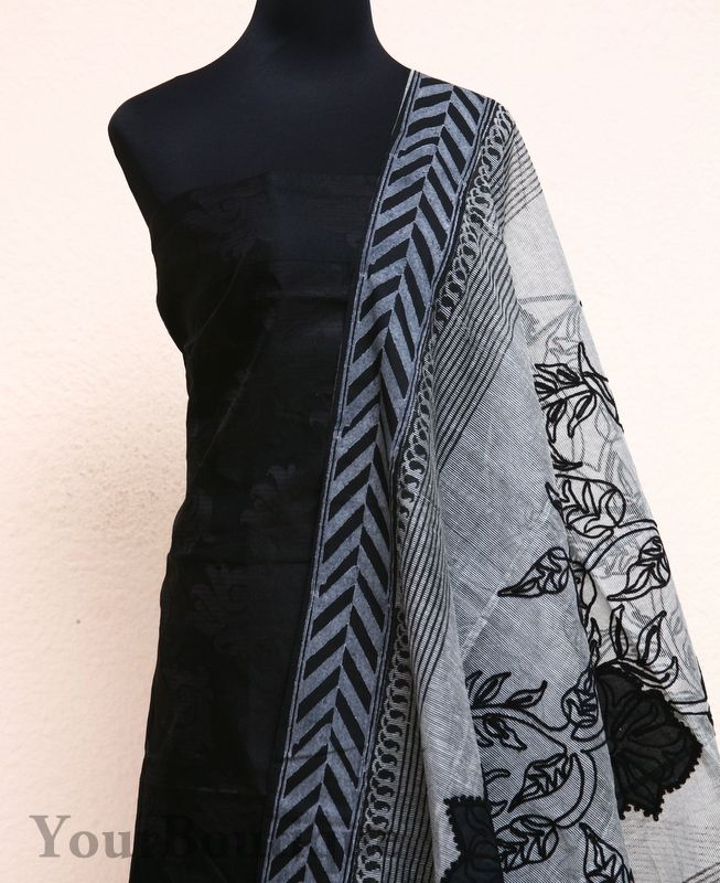 PK074-5 Black chanderi silk top with self weaving design. Grey cotton bottom. Dupatta has patchwork embroidery all over.