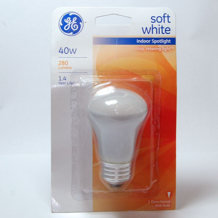 GE 40W 120V R16 E26 Base Soft White Incandescent Spotlight Light Bulb