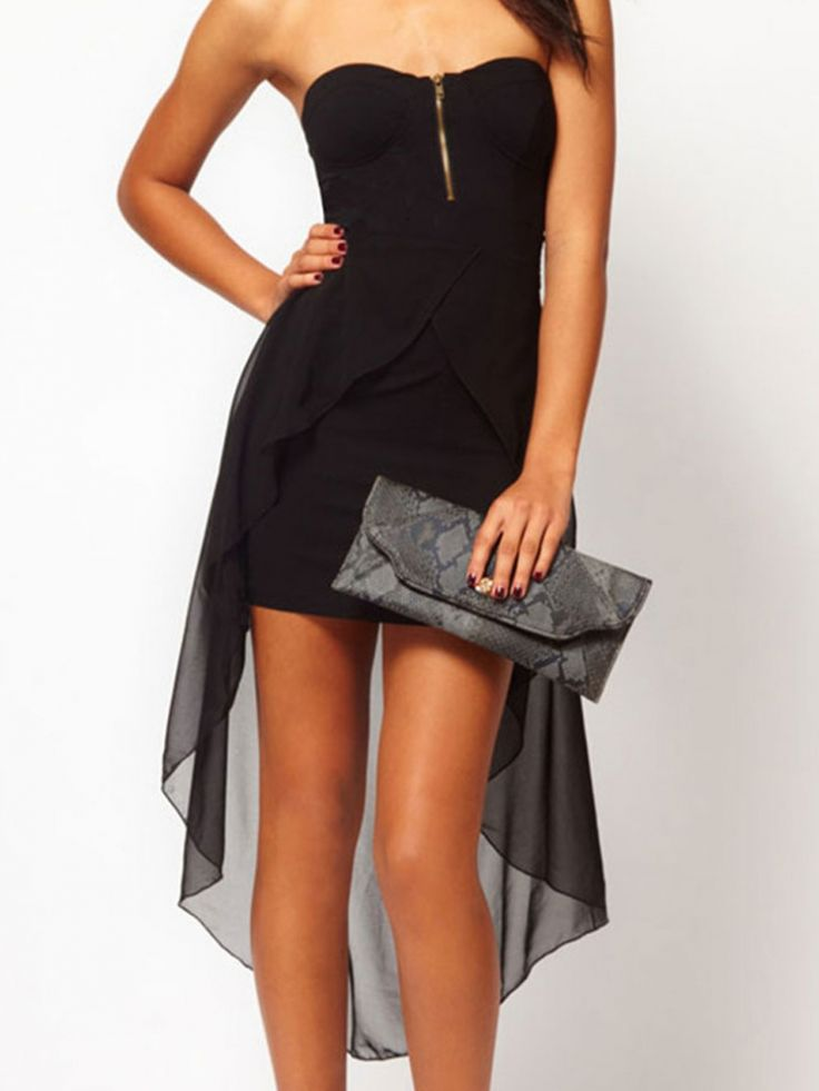 Buy Black Strapless Bodycon Dress With Deep Hem from abaday.com, FREE shipping Worldwide - Fashion Clothing, Latest Street Fashion At Abaday.com