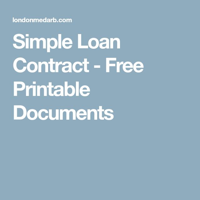 Simple Loan Contract - Free Printable Documents