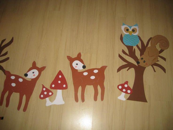 kids window decoration autumnal with owl mashroom deer fensterbild reh eule pilz herbst
