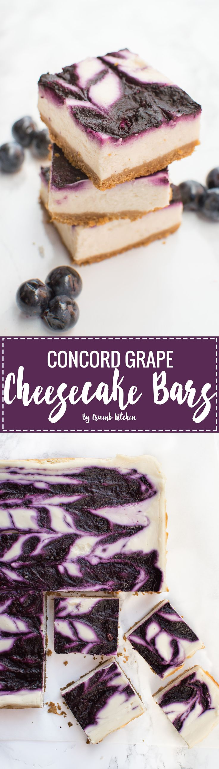 Fresh, sweet and tart concord grapes are made into the perfect fruit puree to top these creamy Concord Grape Cheesecake Bars. | Crumb Kitchen