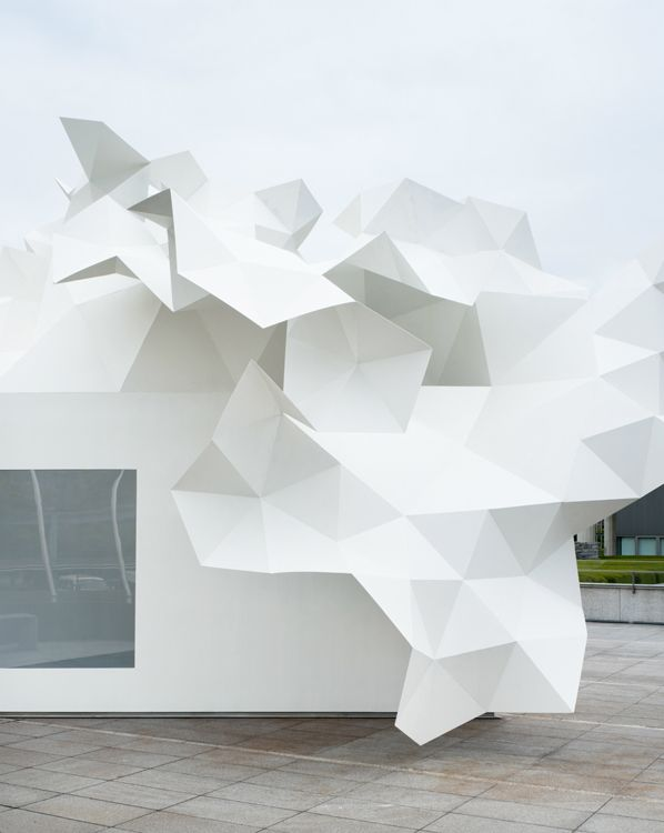 Outside the Museum of Contemporary Art in Tokyo, sits a pavilion that sways gently in the wind.  Created by Akihisa Hirata, it houses contemporary art.