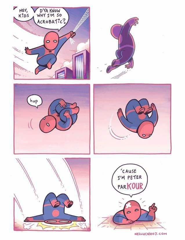 If I was Spider-Man, I would tell this joke every day. Every. Day.