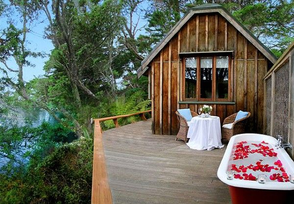 Luxury eco-lodges in New Zealand.