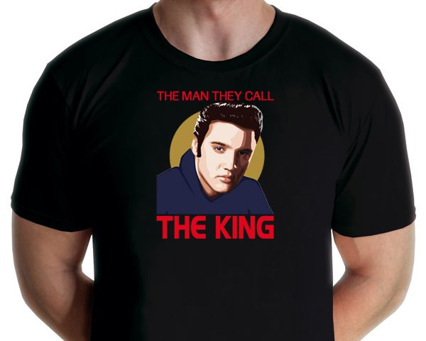 Elvis Presley - King Elvis T-shirt Design by graphic artist Jarod. Available from www.rocknprint.nl