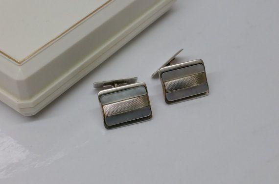 Manschettenknöpfe Cufflinks Silber Perlmutt MS131 von Schmuckbaron