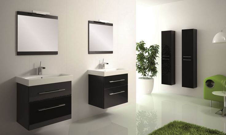 Barcelona 60 2S black z umywalką ceramiczną Luna• Barcelona 60 2DR black with ceramic washbasin Luna. #elita #meble #lazienka #barcelona #bathroom #furniture
