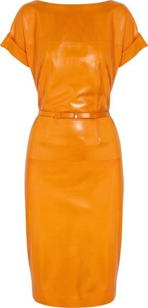 pumpkin leather dress