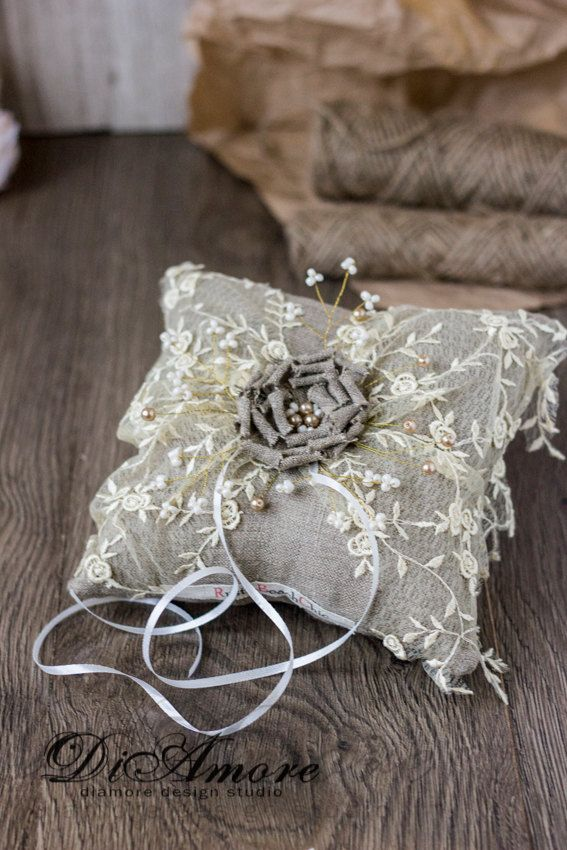 Rustic Chic Wedding ring bearer pillow with от RusticBeachChic