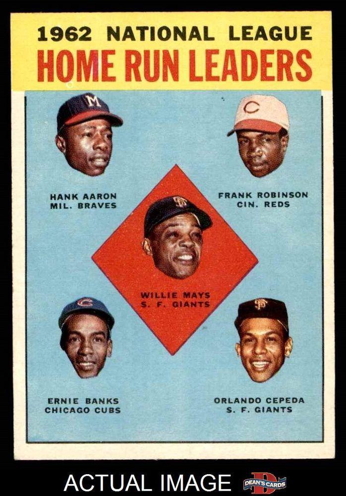 1963 Topps 3 Hank Aaron Willie Mays Frank Giants Reds