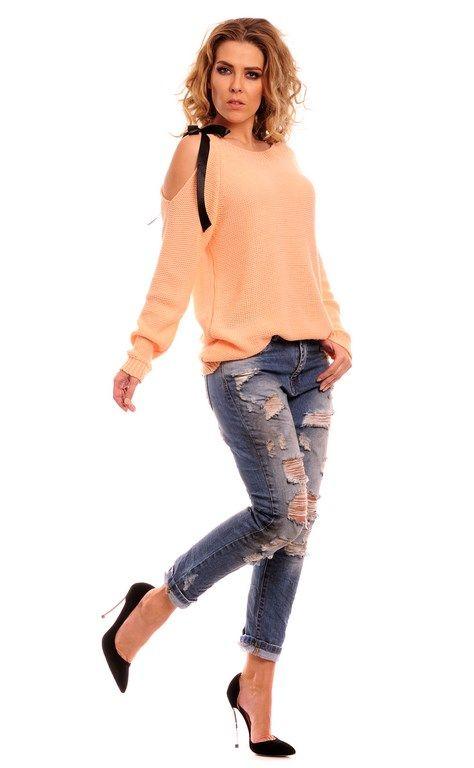 Morelowy sweterek damski z długim rękawem