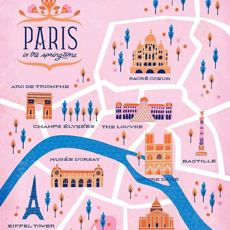 Bon voyage! Paris map illustrated by Clairice Gifford @niftyswank #travel #illustration #repost  Doing a little map making. #illustration #design #art #color #paris #map #lettering by lillarogers