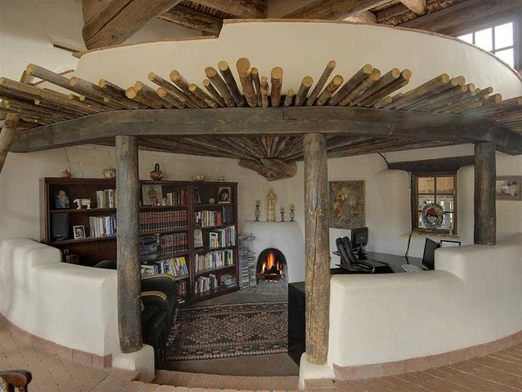 Adobe fireplace alcove at Spirit Rock Ranch, Cerrillos, New Mexico.