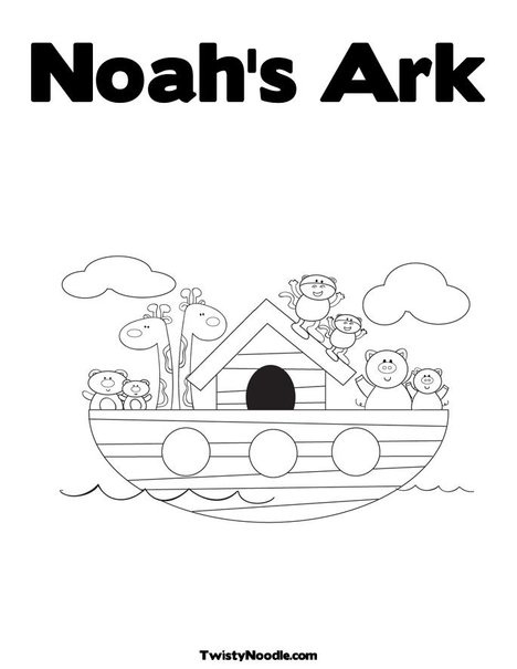 Noah's Ark customizable text coloring sheet
