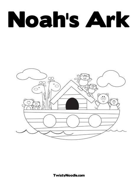 Noah's Ark customizable text coloring sheet
