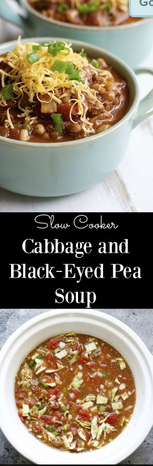 This Cabbage and Black-Eyed Pea Soup is packed with black-eyed peas, onions, bell pepper, cabbage, and tomatoes! Perfect for New Years!