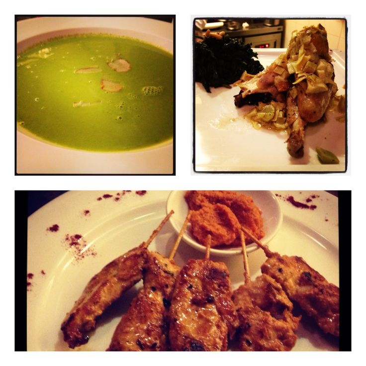 Very refreshing & healthy Green Green Soup (Top Left), Slow Roasted Chicken with Lime, Artichokes and Garlic (Top Right) and Grilled Chicken Satay with Peanut Garlic chutney (bottom)