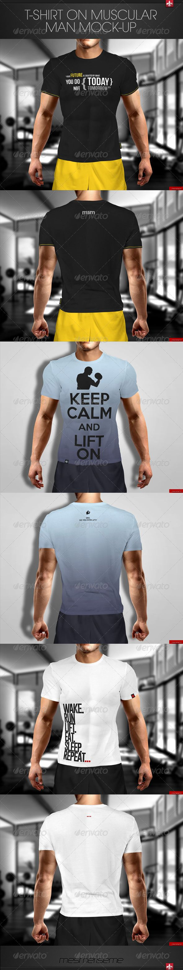 Tshirt on Muscular Man Mockup — Photoshop PSD #muscle #training • Available here → https://graphicriver.net/item/tshirt-on-muscular-man-mockup/7577722?ref=pxcr