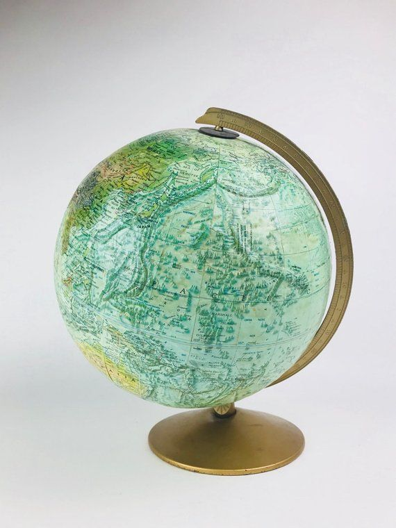 60s Vintage Replogle World Ocean Series Globe With Gold