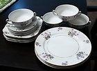 Vintage Set of 15 Craftsman China New England Pattern Dinnerware Violets Gold