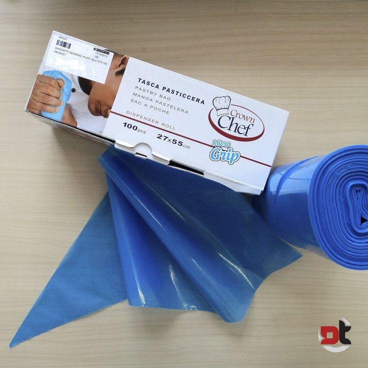 100 PEZZI SAC A POCHE PLASTICA BLU CON GRIP 55x27 CM pasticceria cake designe