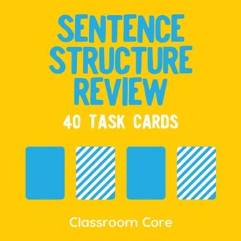 Sentence Structure Review: In this activity, students review simple, compound, complex, and compound-complex sentences by identifying sentence types, clauses, coordinating conjunctions, and relative pronouns. The set features a multiple-choice review quiz, 40 task cards, and a matching build-your-own storage case for fun and convenient organization of your cards.