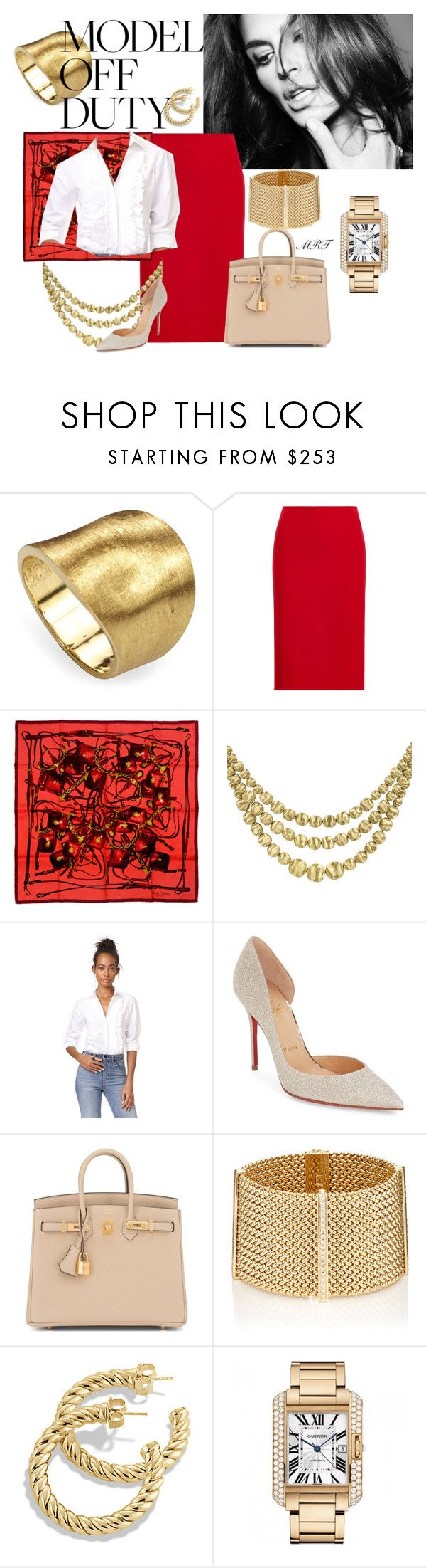 """""""Chic Off Duty"""" by meesh57 on Polyvore featuring Marco Bicego, Hermès, The Seafarer, Christian Louboutin, Sidney Garber and Cartier"""
