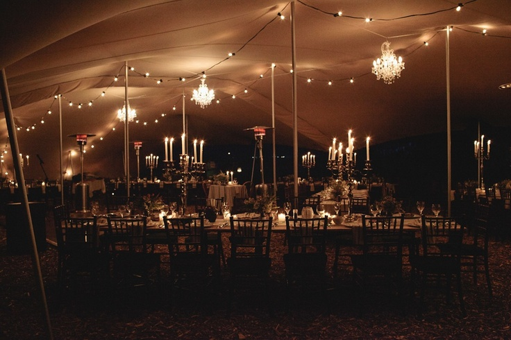 Chandeliers & alfresco lighting under stretch tent www.eventsandtents.co.za