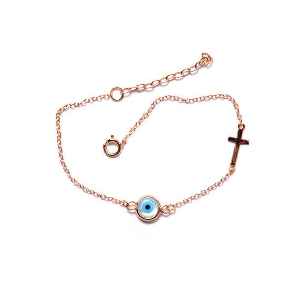 Βραχιόλι μάτι σταυρός ροζ επιχρυσωμένο  ασήμι 925  4516