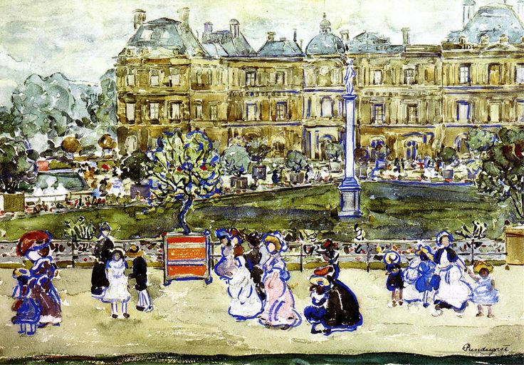 Maurice Prendergast  water-color painting Title<Le Louvre>