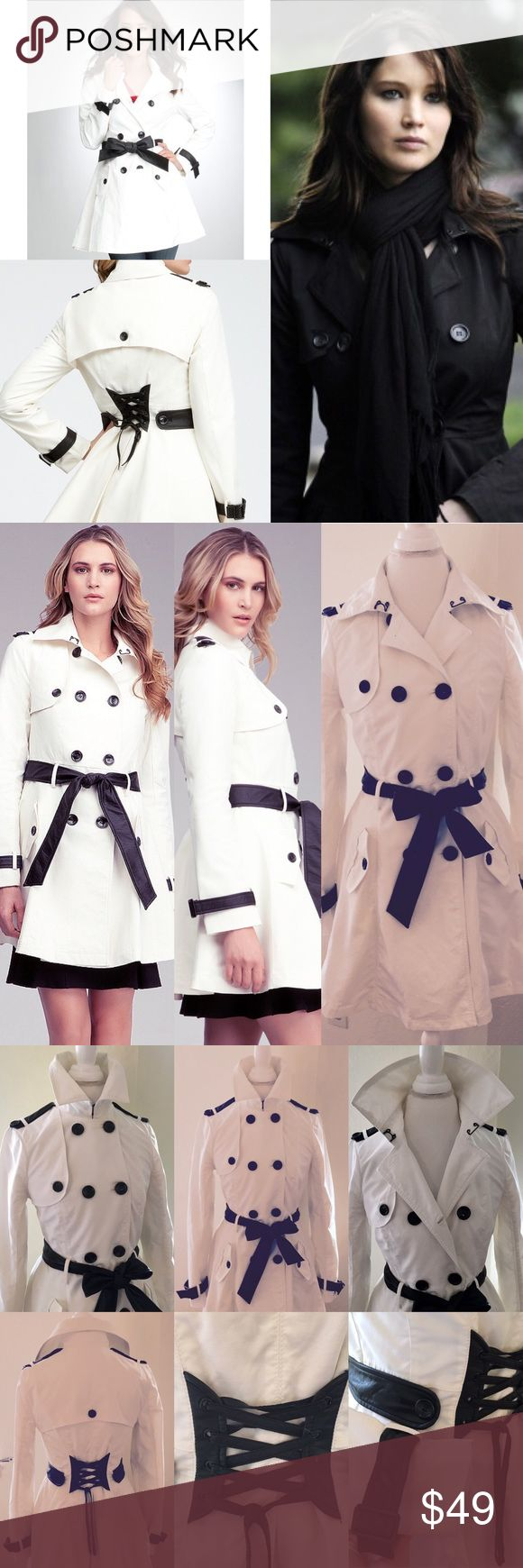 BEBE White&Black Contrast Trim Belted Trench Coat A must-have staple in everyone woman's closet, this bebe trench coat exudes charm and classic style. Features double-breast styling, front pockets, black leatherette trim at sleeves and waist, A-line flare, and sexy laced-up design at back. No longer available in this stunning winter white color (egret/black). Fell in love with how flattering this trench is. Effortless & timeless style. Excellent condition overall; see pic of 1 small…