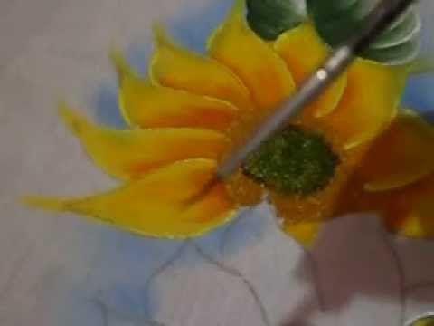 Como pintar girassol - YouTube