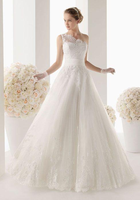 Fancy A line Sleeveless One Shoulder Wedding Dress
