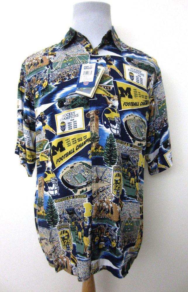 970804ec NWT Reyn Spooner Sports Michigan University Wolverines Rayon Shirt Men's M # ReynSpooner #Hawaiian